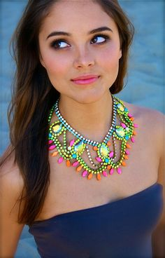 The Classic Neon Crystal Statement Necklace by DolorisPetunia, $390.00