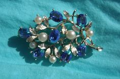 Fabulous Vintage Lisner Blue AB Aurora Borealis and Pearl Silver Brooch Signed | eBay