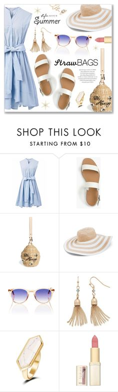 """""""Carry On: Straw Bags"""" by dressedbyrose ❤ liked on Polyvore featuring Chicwish, J.Crew, Kate Spade, Vera Bradley, Garrett Leight, LC Lauren Conrad, L'Oréal Paris, Topshop and strawbags"""