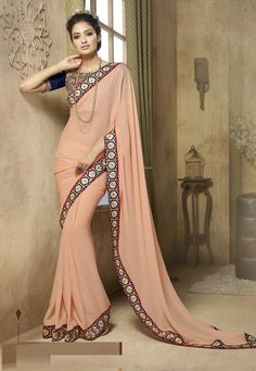 #Beautiful  #Peach #Viscose #Saree With #Blouse  Peach Viscose Saree designed with Zari,Resham Embroidery with Thread Work. As shown Blue Bangalori Silk Blouse fabric is available which can be customized as per requirements.  #With #Exciting #Offer INR:-2,673.00 Only http://tinyurl.com/jox5lhy