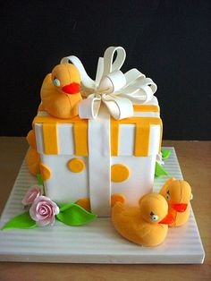 Yellow Rubber Ducky Baby Shower Cake