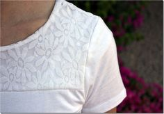 Lace tee tutorial! I'm going to buy a bunch of cheap tee's next time I see them on sale and make these in a wide veriety of colors!