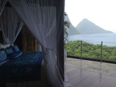 Galaxy Suite Bed & View of Pitons, Jade Mountain, St. Honeymoon Destinations, Amazing Destinations, Maldives Vacation Packages, Caribbean Honeymoon, Jade Mountain, 10 Years Later, Dream Vacations, Spaces, Explore