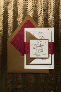 KATHRYN Suite Glitter Package, red and gold, red glitter, letterpress wedding invitations, black friday wedding deals, calligraphy wedding invitations, viral on Pinterest