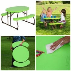 Kids Picnic Table Oval Outdoor Lunch Patio Furniture Pool Side Bench Lime Green #kidspicnictable