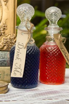 Alice in Wonderland Tea Party Bridal Shower. Drink Me Bottles and Labels. mimosas and lemonade