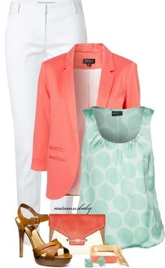Coral blazer! Cute work outfit for summer & you don't have to always match up your colors. Shake it up a little with coordinating colors that scream fun.