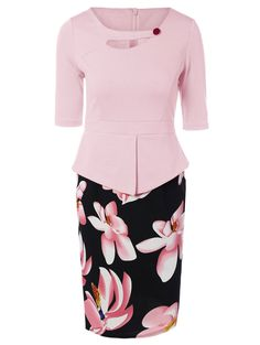 Floral Spliced Sheath Work Dress in Pink   Sammydress.com