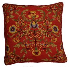 Old Roses Needlepoint Pillow with Cording