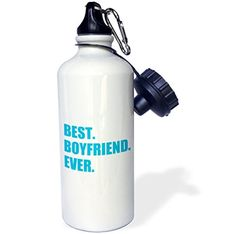 3dRose wb_179710_1 Blue Best Boyfriend Ever Text Anniversary Valentines Day Gift for Him Sports Water Bottle, 21 oz, White -- Wow! I love this. Check it out now! : Camping equipment