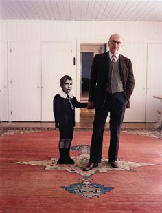 Saul Steinberg, with himself as a Little Boy, Long Island, 1978.  Photo by Evelyn Hofer