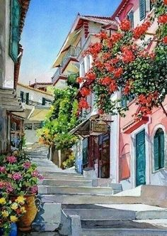 Watercolour Painting of Plaka, Athens - Greece Watercolor Architecture, Watercolor Landscape, Watercolour Painting, Diy Painting, Painting & Drawing, Landscape Paintings, Watercolors, Scenery Paintings, Watercolor Trees