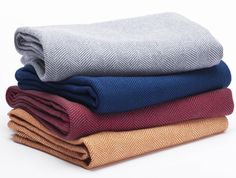 Herringbone Organic Wool Blanket