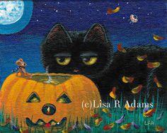 Whimsical Halloween Black Cat Painting Mini Fall Art Mouse Moon  Creationarts