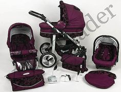 Silver 3 in 1 Pram Pushchair Stroller Travel System Purple / Flowers