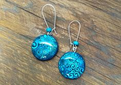 Shades Of Blue Polymer Clay Earrings Resin by PauwowHandmade