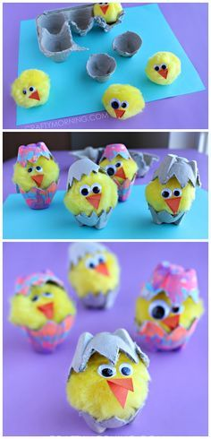 40 Simple Easter Crafts for Kids - Egg Carton Hatching Chicks Spring Crafts For Kids, Easter Projects, Easter Art, Easter Crafts For Kids, Toddler Crafts, Crafts To Do, Preschool Crafts, Diy For Kids, Easter Eggs