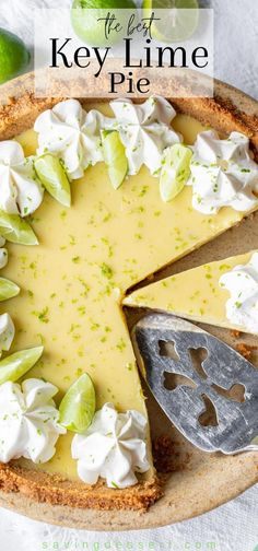 Key Lime Pie - this summer classic has a creamy smooth, tart filling and a sweet graham cracker crust. Use fresh key limes and plenty of zest for the best flavor! #savingroomfordessert #keylime #keylimepie #pie #lime #dessert Lime Recipes, Tart Recipes, Sweet Recipes, Baking Recipes, Fun Desserts, Delicious Desserts, Dessert Recipes, Yummy Food, Key Lime Desserts
