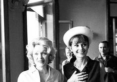 Marlene Dietrich and Audrey Hepburn at Taormina Film Festival, July 1962