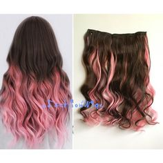 Dark Brown Mixed With Pink Two Colors Ombre Highlight Hair Extension... (78 HKD) ❤ liked on Polyvore featuring beauty products, haircare, hair styling tools, hair, bath & beauty, grey, hair care, hair extensions and curly hair care