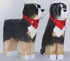 Bernese Mountain Dog Wood Carving