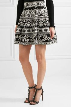 Black and white jacquard-knit Slips on  77% viscose, 15% polyester, 6% polyamide, 2% elastane Dry clean  Made in Italy