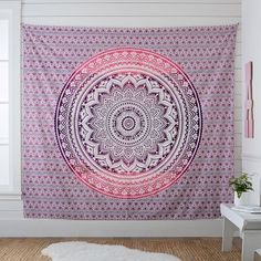Pink Ombre Queen Twin Size Cotton Tapestry Wall Hanging Mandala Wall Tapestry Room Tapestry Hippie B Bohemian Wall Tapestry, Dorm Tapestry, Elephant Tapestry, Tapestry Bedroom, Indian Tapestry, Mandala Tapestry, Tapestry Wall Hanging, Tapestries, Bedrooms