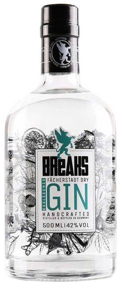 Gin von Breaks in der 0,5l Flasche mit 42% Vol. Alc.