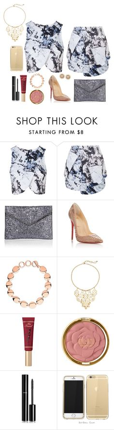 """Untitled #23"" by mycah-norris-1 ❤ liked on Polyvore featuring Topshop, Rebecca Minkoff, Christian Louboutin, Links of London, Apt. 9, Too Faced Cosmetics, Milani, Chanel and Carolee"