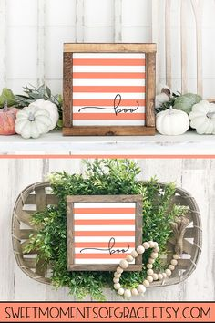 Decorate for Halloween easily and on a budget with this cute farmhouse style BOO! The neutral colors make it easy to add to your current decor and are perfect for Halloween! Check out more by clicking through! Farmhouse Halloween, Halloween Home Decor, Halloween Signs, Halloween House, Fall Home Decor, Autumn Home, Fall Halloween, Halloween Crafts, Halloween Decorations