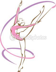 Гимнастка с лентой — стоковая иллюстрация #81368716