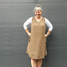 "The Patricia Camilla Pinafore is a loose fitting utility top with options for an ""H"" shaped back or a ""V"" shaped back. The straps can be finished with a quick and easy facing or with bias binding. The shirt, tunic, and dress lengths all have a shirt tail hem, and there are two generous pocket sizes."