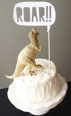 Cake Topper  Gold Dinosaur with ROAR Talking by ConfettiThrowers, $30.00