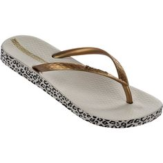 Ipanema Flip-flops - Ipanema Anatomica Soft Fem Beige/gold ($27) ❤ liked on Polyvore featuring shoes, sandals, flip flops, beige, gold flip flops, yellow gold shoes, beige flip flops, gold sandals and gold shoes