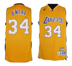 Adidas NBA Los Angeles Lakers 34 O'Neal Yellow Swingman Throwback Jersey