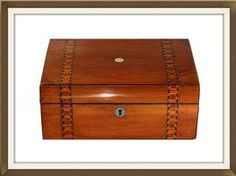 Antique Walnut Jewellery Box With Parquetry Inlay  £350