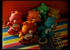 https://flic.kr/p/fHvbx   My Carebears   Love-a-lot and Funshine are original 1980s toys, and I bought the others a couple of years ago in The Entertainer in Basingstoke - because I never really grew out of them! :)  (I also have soft toy versions of Friend Bear and Funshine, which I couldn't afford the first time - as they cost a fortune then, and I didn't get enough pocket money!!!)