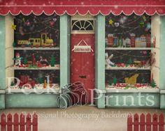 8ftx7ft Christmas Store Front Santas Workshop Vinyl by PeekPrints, $84.99
