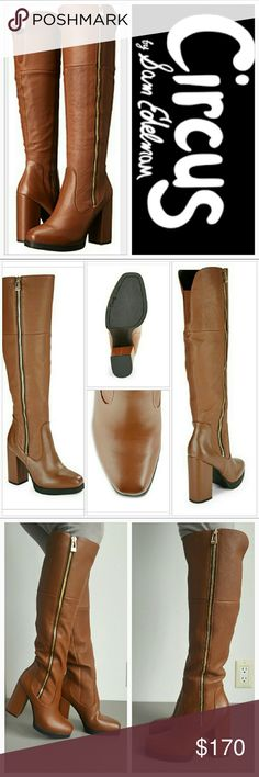 """Last CallSam Edelman 'Holland' knee high boots Brand new!  These fabulous sky-high knee-high boots with mixed-texture design by Sam Edelman are perfect for your fall/winter wardrobe! These beautiful tan colored boots feature a gold zipper detail on sides with super trendy block heel.  Size 7.5M Leather/man made upper Balance man made Self-covered block heel, approx 4.50"""" Platform, approx 0.5"""" Shaft, approx 18"""" Leg circumference, approx 12"""" Square toe Side zipper closure   Brand new/never…"""