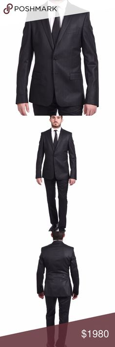 Versace Collection Men's Pinstriped Wool 2-Button Versace Collection Waist Flap Pockets Two-Button Front Three-Button Cuff Sleeves Besom Chest Pocket Made In Croatia Croatia (Hrvatska) Wool Versace Suits & Blazers Suits