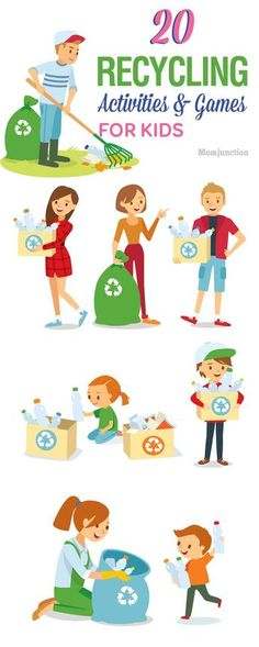 20 Recycling Activities And Games For Kids - Great for Earth Day # recycling activities for kids Top 20 Recycling Games And Activities For Kids Recycling Games, Recycling Activities For Kids, Activity Games For Kids, Recycling For Kids, Recycled Crafts For Kids, Earth Day Games, Earth Day Activities, Preschool Activities, Children Activities