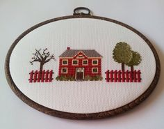 hand embroidery cross stitch in  hoop by yoncasshop on Etsy, $45.00