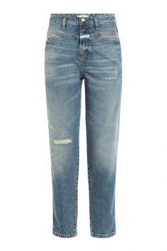 Closed Closed High-Waist Cropped-Jeans aus Baumwolle – Blau