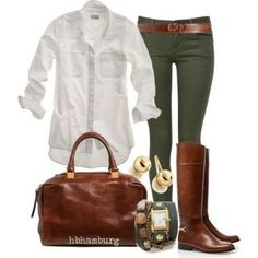 I'd like to own a luxe white untucked blouse, also like the color of pants
