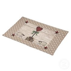 This Heart Topiary Placemat features my mouse drawn art and is perfect for your Country or Primitive Kitchen or Dinette. #primitive #placemats #heart #sheep