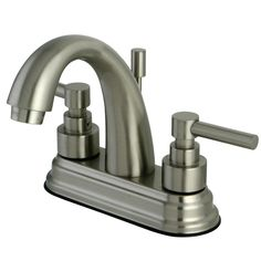 Kingston Brass KS8618EL Twin Brass Handle 4-Inch Lavatory Faucet, Satin Nickel //Price: $199.95 & FREE Shipping over $99 //
