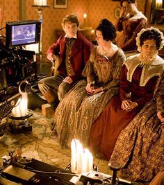Filming the BBC series Cranford. Notice the use of natural candle light.