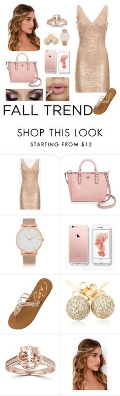 """Rose Gold"" by mandibella ❤ liked on Polyvore featuring Hervé Léger, Tory Burch, Larsson & Jennings, Roxy, Loushelou and Lulu*s"