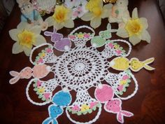 Peter cotton tail hand crochet easter doily by solerichard on Etsy, $28.00
