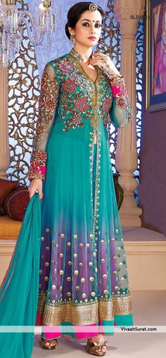 Purple Sheaded Tourquoise light green embroidered Net Anarkali Salwar Suit